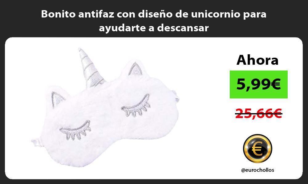 Bonito antifaz con diseño de unicornio para ayudarte a descansar