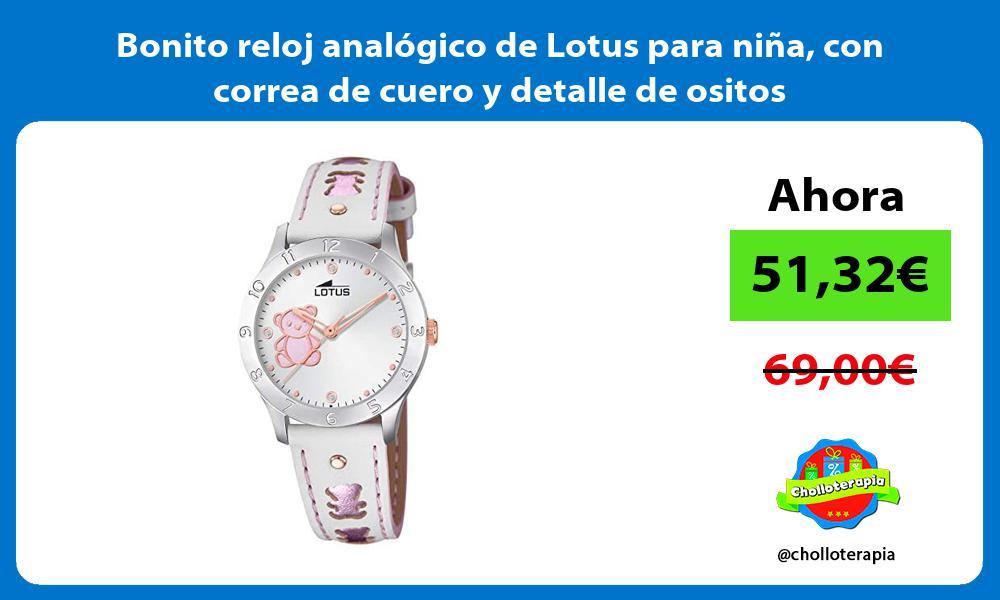 Bonito reloj analógico de Lotus para niña con correa de cuero y detalle de ositos
