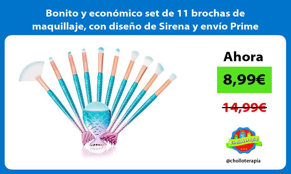 Bonito y económico set de 11 brochas de maquillaje con diseño de Sirena y envío Prime