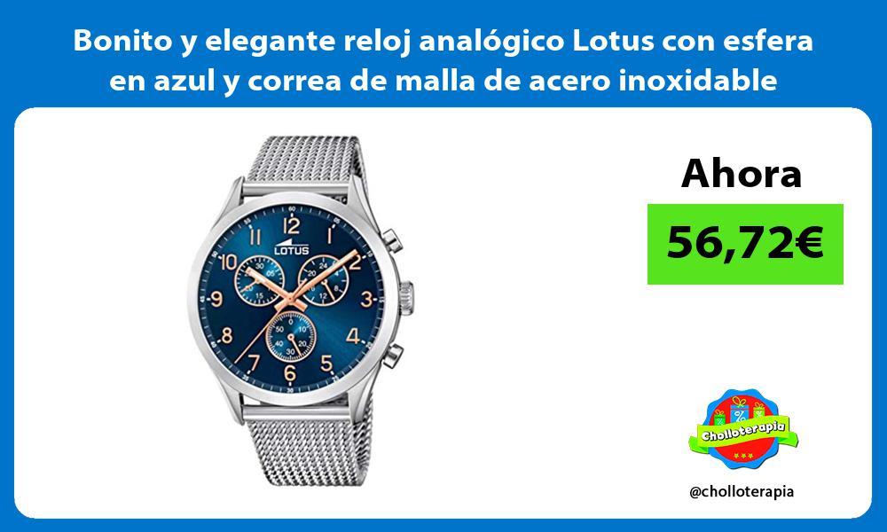 Bonito y elegante reloj analógico Lotus con esfera en azul y correa de malla de acero inoxidable