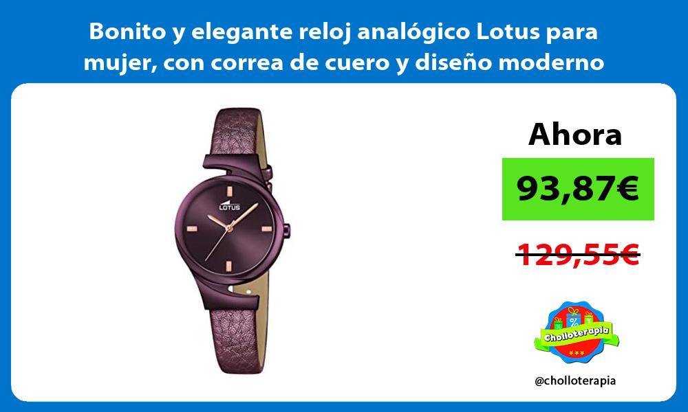 Bonito y elegante reloj analógico Lotus para mujer con correa de cuero y diseño moderno