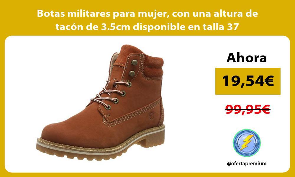 Botas militares para mujer con una altura de tacón de 3 5cm disponible en talla 37
