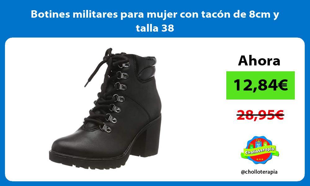 Botines militares para mujer con tacón de 8cm y talla 38