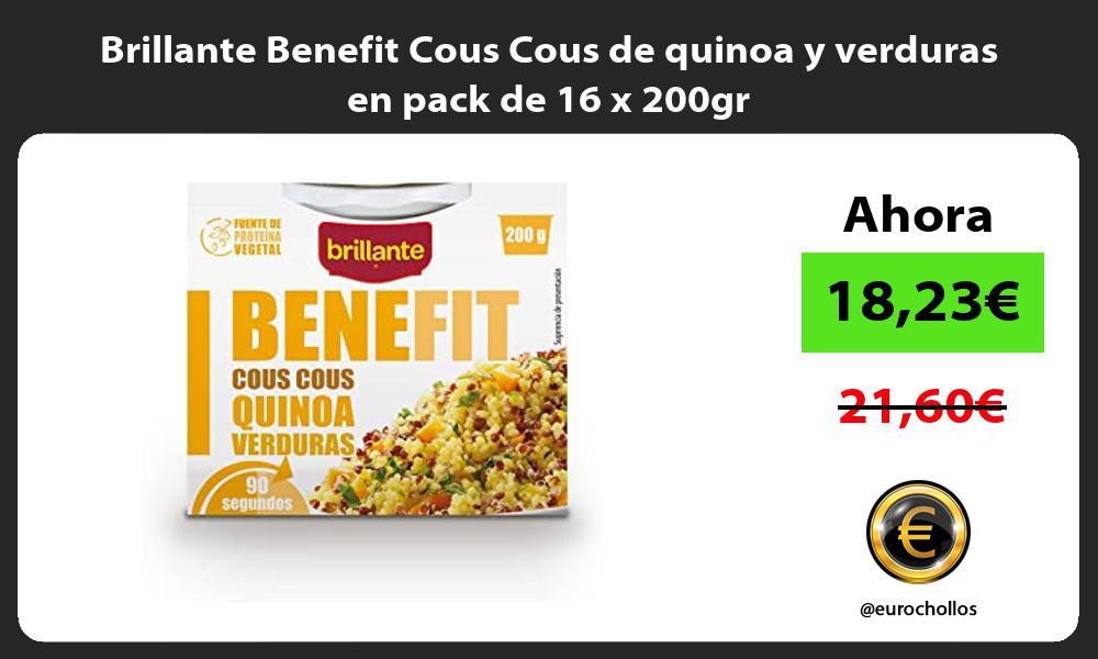 Brillante Benefit Cous Cous de quinoa y verduras en pack de 16 x 200gr