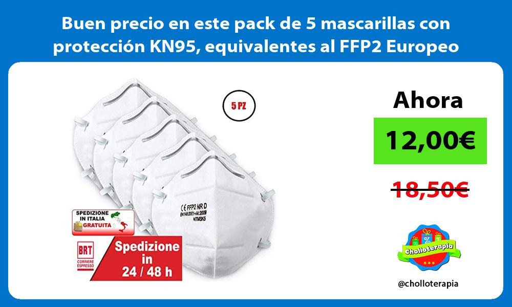 Buen precio en este pack de 5 mascarillas con protección KN95 equivalentes al FFP2 Europeo