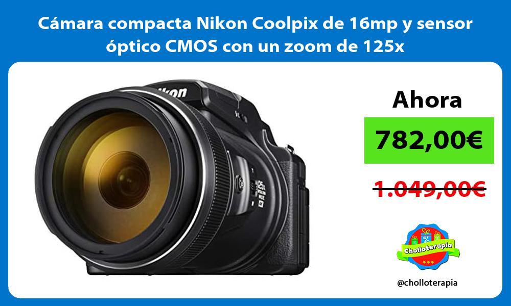 Cámara compacta Nikon Coolpix de 16mp y sensor óptico CMOS con un zoom de 125x