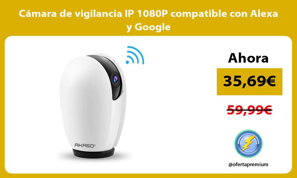 Cámara de vigilancia IP 1080P compatible con Alexa y Google
