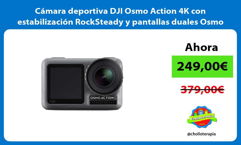 Cámara deportiva DJI Osmo Action 4K con estabilización RockSteady y pantallas duales Osmo Action