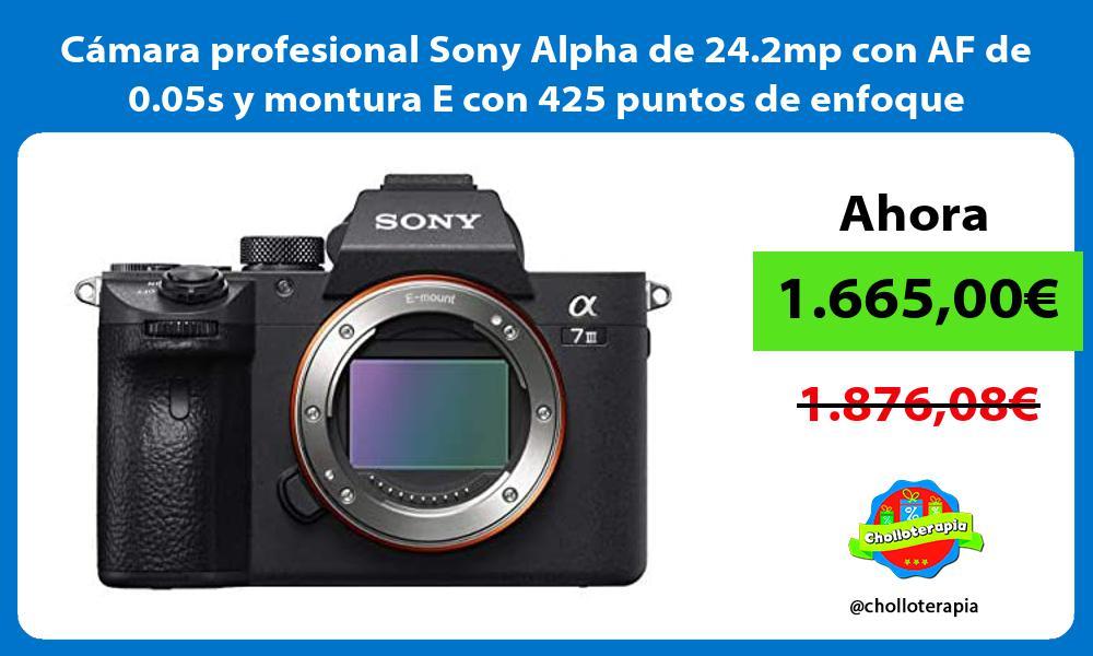 Cámara profesional Sony Alpha de 24 2mp con AF de 0 05s y montura E con 425 puntos de enfoque