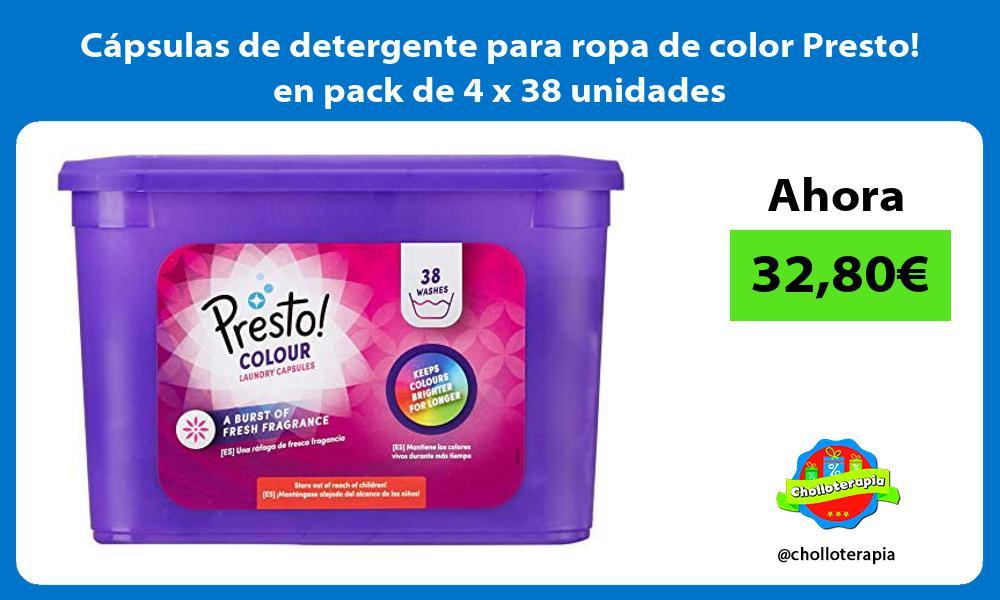 Cápsulas de detergente para ropa de color Presto en pack de 4 x 38 unidades