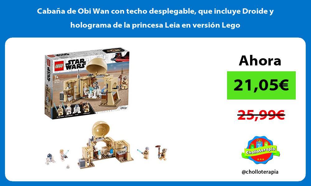 Cabaña de Obi Wan con techo desplegable que incluye Droide y holograma de la princesa Leia en versión Lego