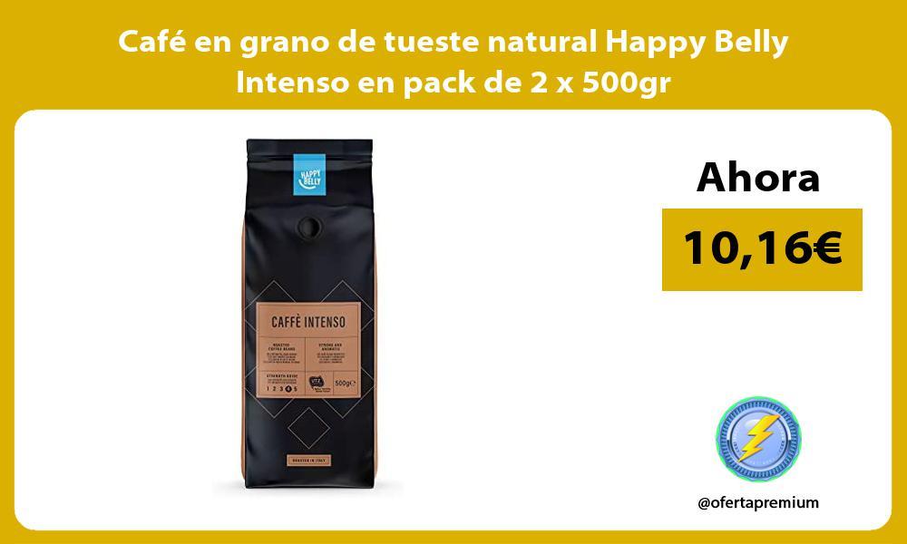 Café en grano de tueste natural Happy Belly Intenso en pack de 2 x 500gr