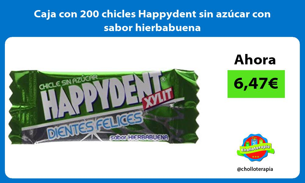 Caja con 200 chicles Happydent sin azúcar con sabor hierbabuena