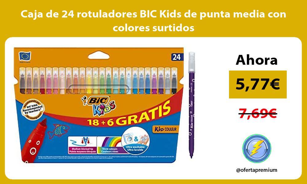 Caja de 24 rotuladores BIC Kids de punta media con colores surtidos