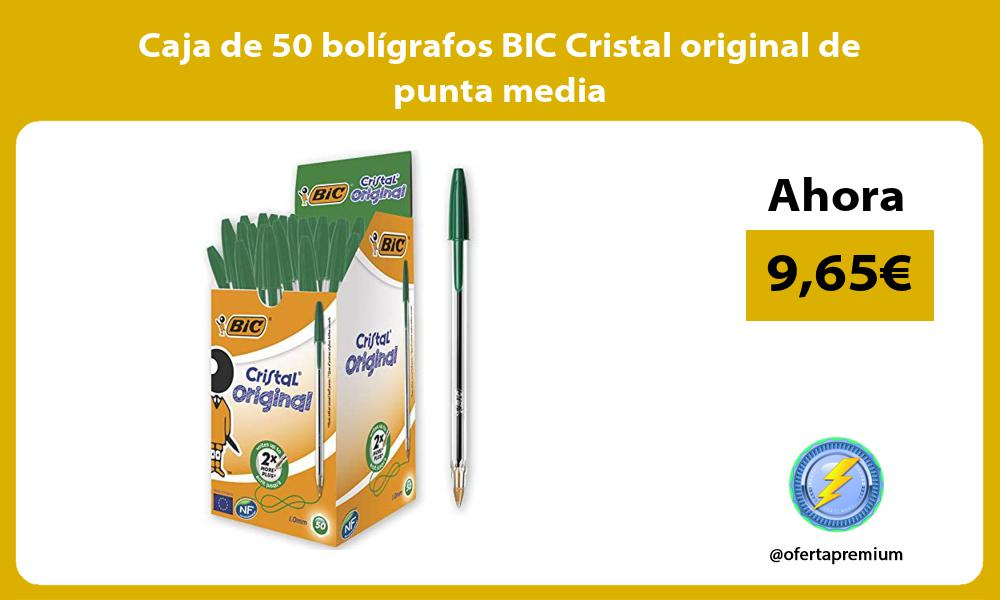 Caja de 50 bolígrafos BIC Cristal original de punta media