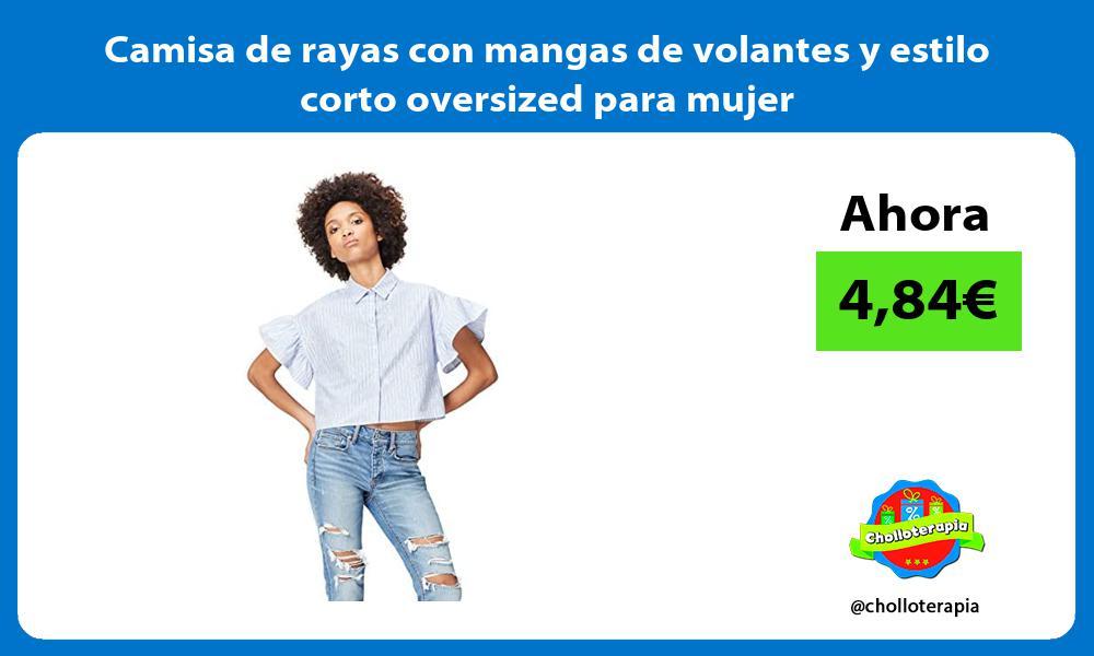 Camisa de rayas con mangas de volantes y estilo corto oversized para mujer