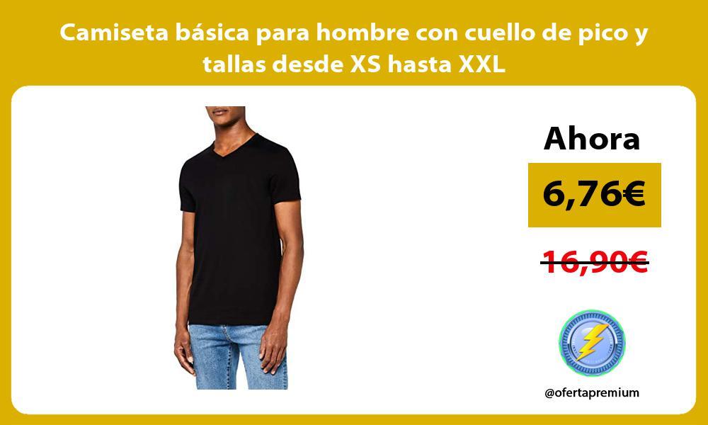 Camiseta básica para hombre con cuello de pico y tallas desde XS hasta XXL