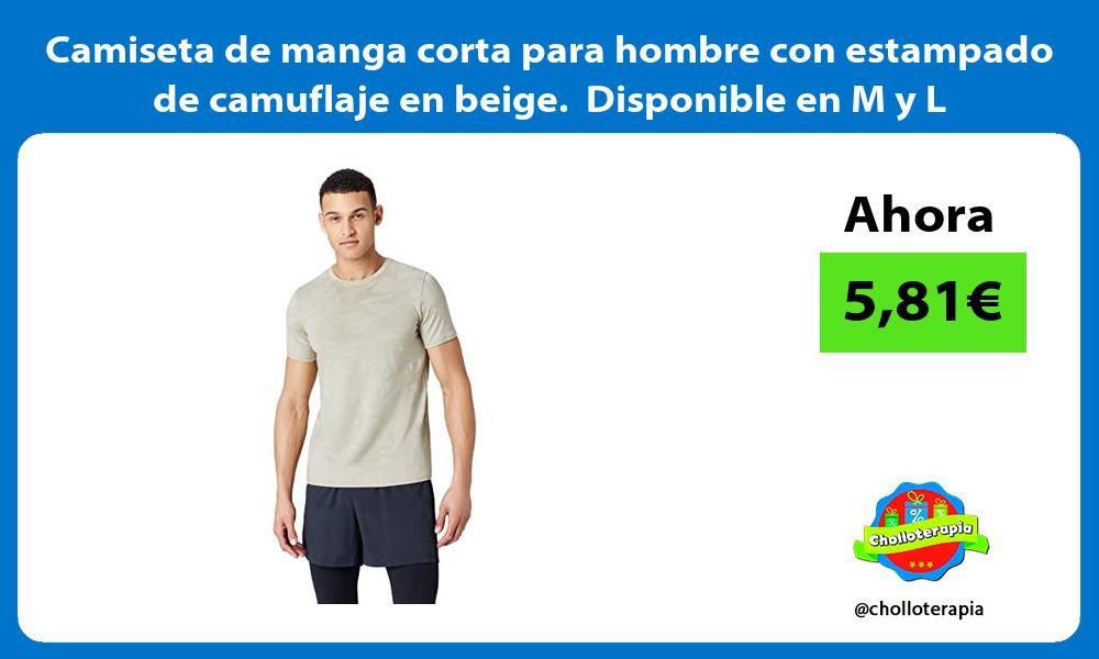 Camiseta de manga corta para hombre con estampado de camuflaje en beige Disponible en M y L