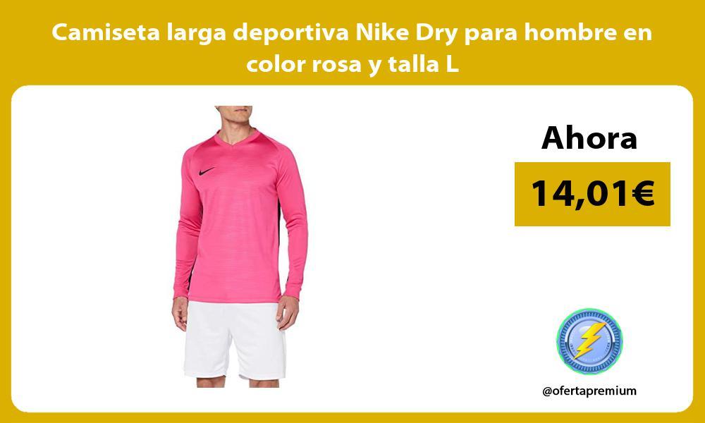 Camiseta larga deportiva Nike Dry para hombre en color rosa y talla L