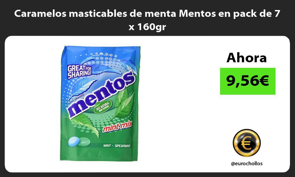 Caramelos masticables de menta Mentos en pack de 7 x 160gr