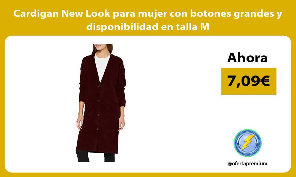 Cardigan New Look para mujer con botones grandes y disponibilidad en talla M