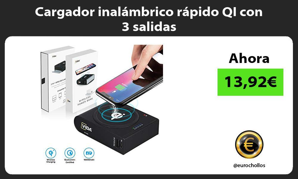 Cargador inalámbrico rápido QI con 3 salidas