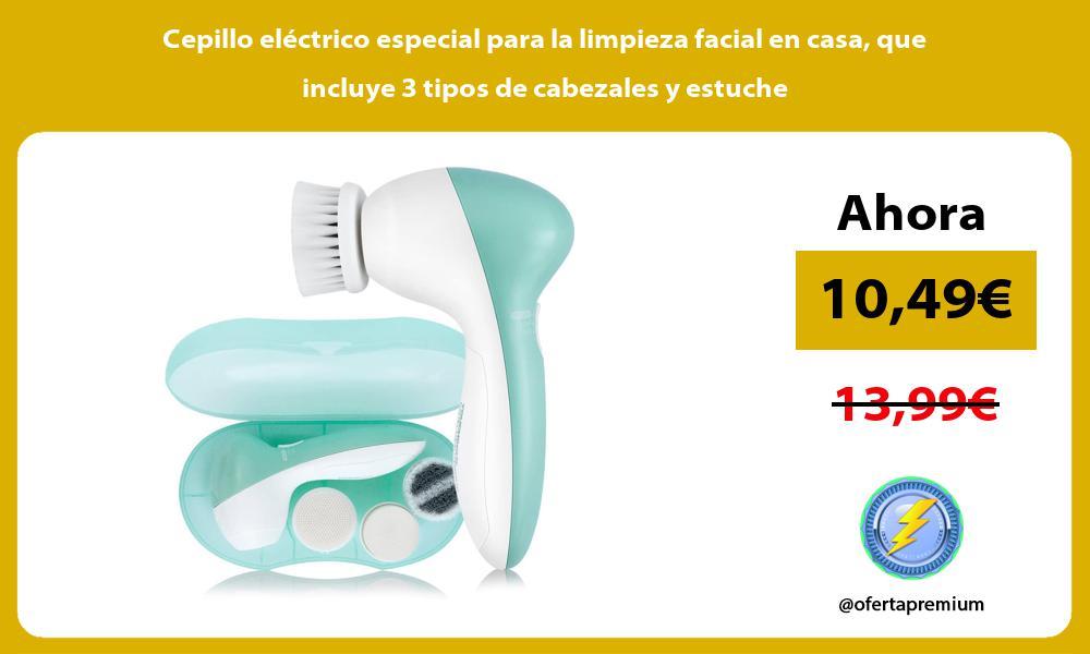 Cepillo eléctrico especial para la limpieza facial en casa que incluye 3 tipos de cabezales y estuche