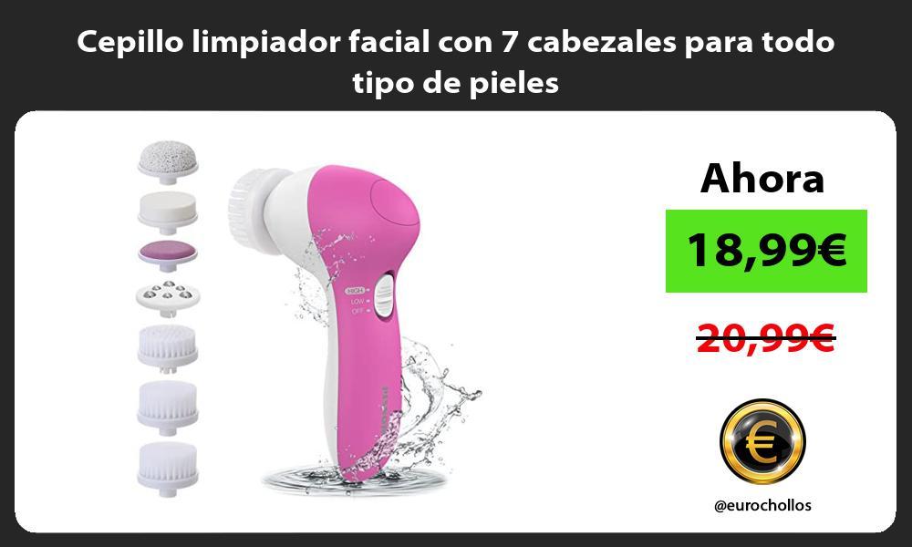 Cepillo limpiador facial con 7 cabezales para todo tipo de pieles