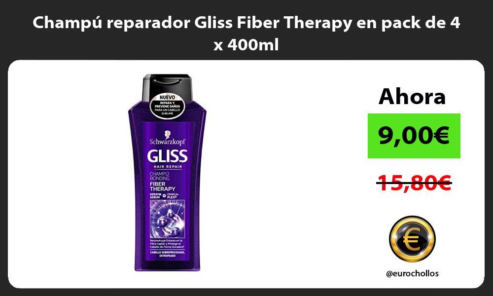Champú reparador Gliss Fiber Therapy en pack de 4 x 400ml