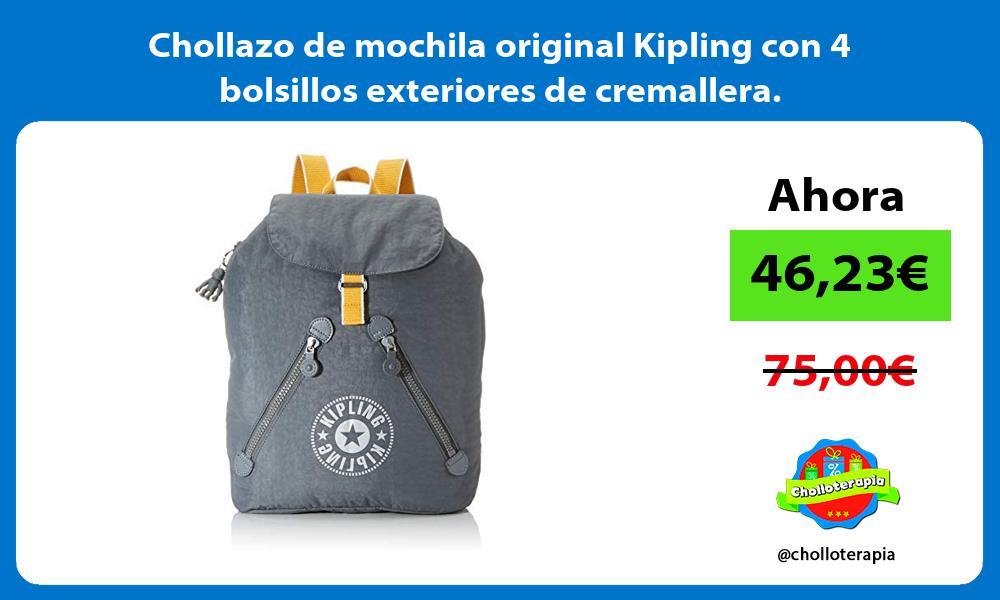 Chollazo de mochila original Kipling con 4 bolsillos exteriores de cremallera