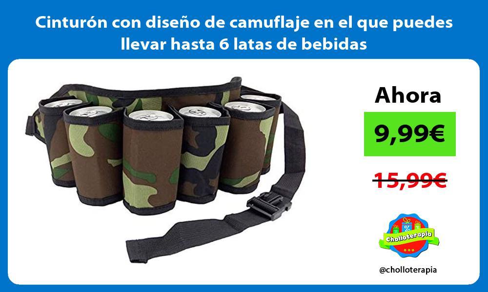 Cinturón con diseño de camuflaje en el que puedes llevar hasta 6 latas de bebidas