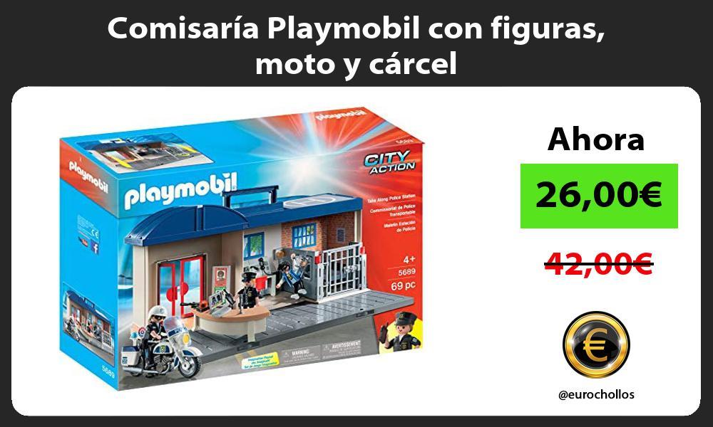 Comisaría Playmobil con figuras moto y cárcel