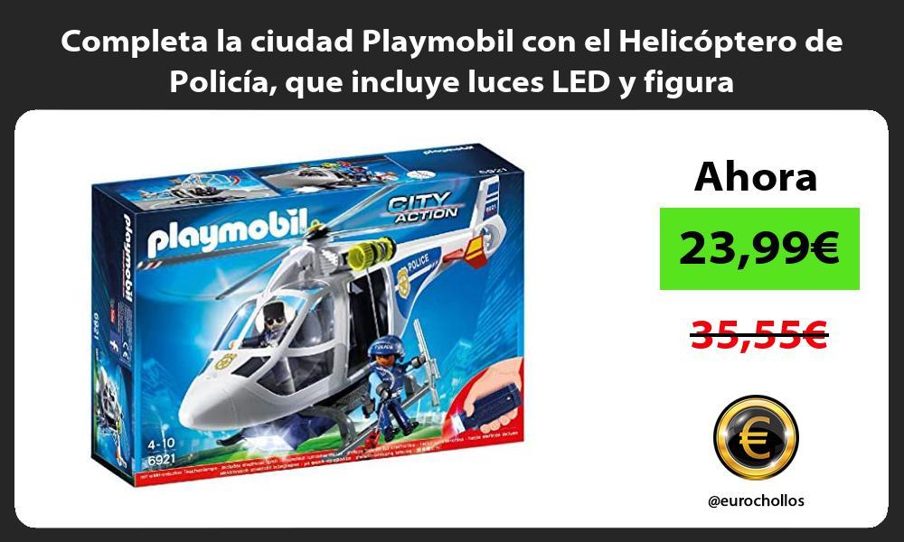 Completa la ciudad Playmobil con el Helicóptero de Policía que incluye luces LED y figura
