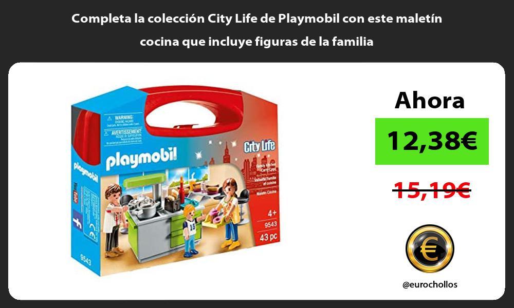 Completa la colección City Life de Playmobil con este maletín cocina que incluye figuras de la familia