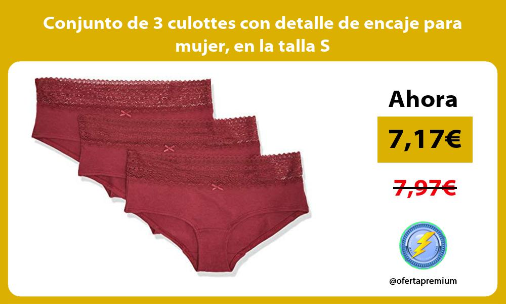 Conjunto de 3 culottes con detalle de encaje para mujer en la talla S