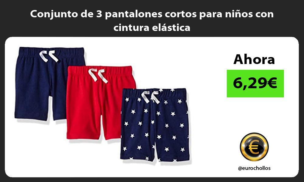 Conjunto de 3 pantalones cortos para niños con cintura elástica