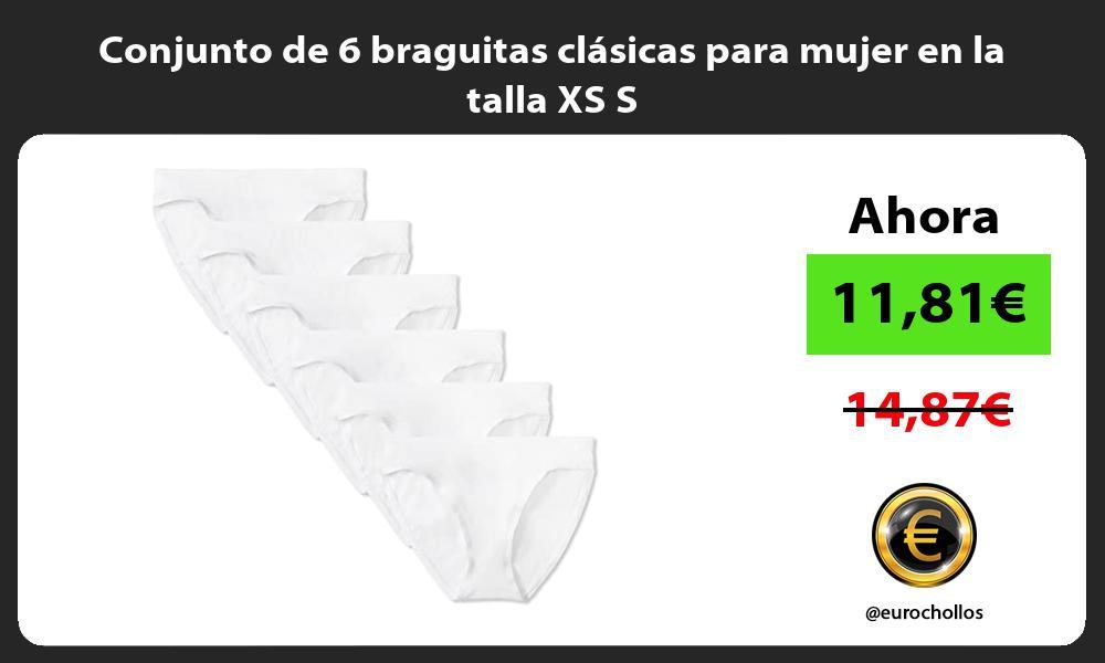 Conjunto de 6 braguitas clásicas para mujer en la talla XS S
