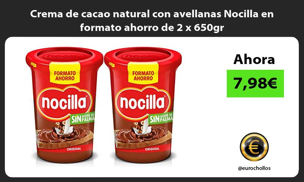 Crema de cacao natural con avellanas Nocilla en formato ahorro de 2 x 650gr