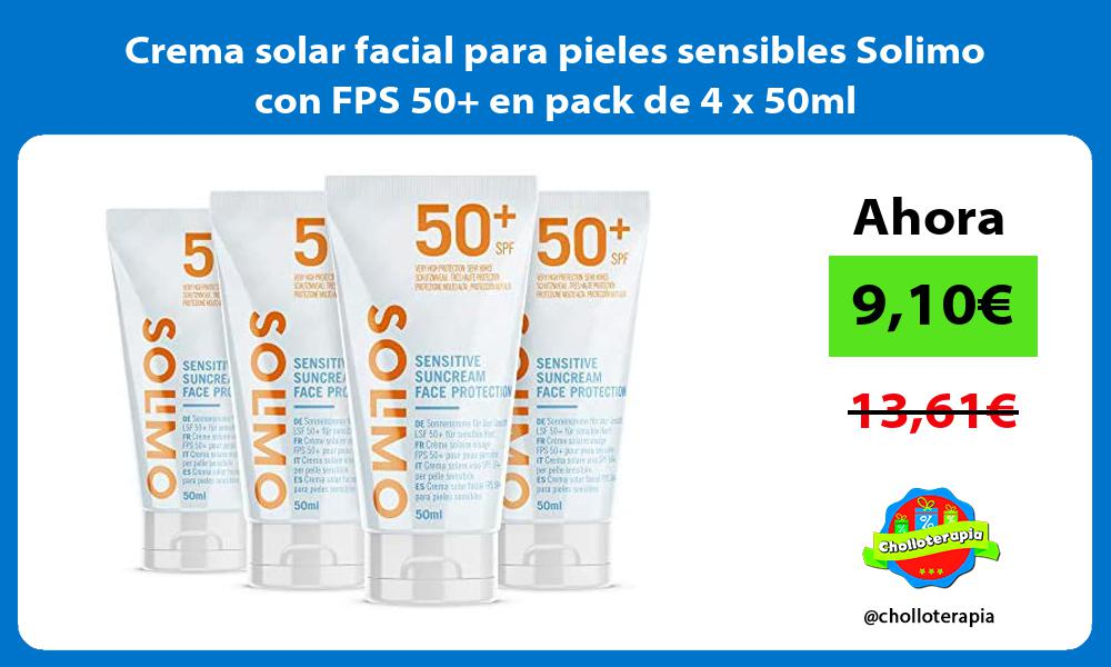 Crema solar facial para pieles sensibles Solimo con FPS 50 en pack de 4 x 50ml