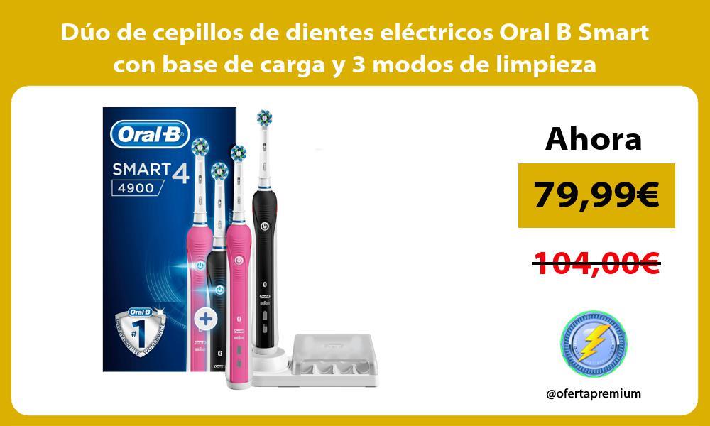 Dúo de cepillos de dientes eléctricos Oral B Smart con base de carga y 3 modos de limpieza
