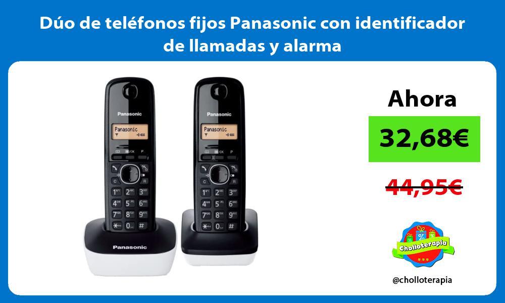 Dúo de teléfonos fijos Panasonic con identificador de llamadas y alarma