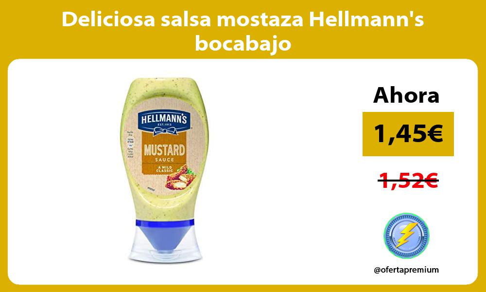 Deliciosa salsa mostaza Hellmanns bocabajo