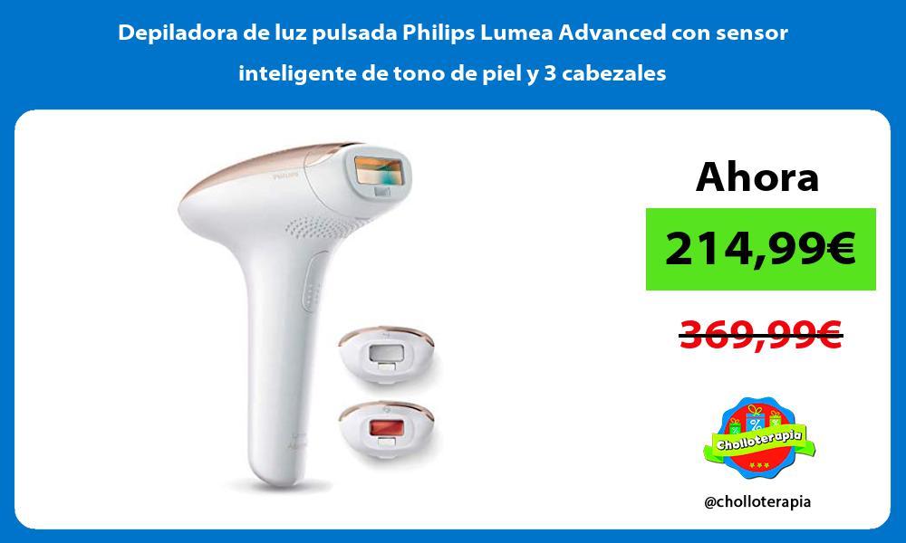 Depiladora de luz pulsada Philips Lumea Advanced con sensor inteligente de tono de piel y 3 cabezales