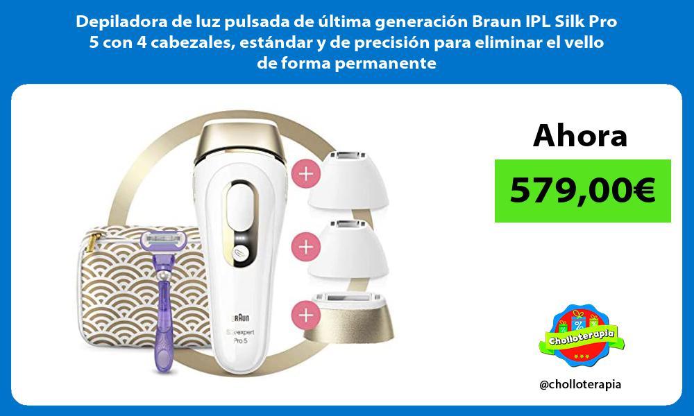 Depiladora de luz pulsada de última generación Braun IPL Silk Pro 5 con 4 cabezales estándar y de precisión para eliminar el vello de forma permanente