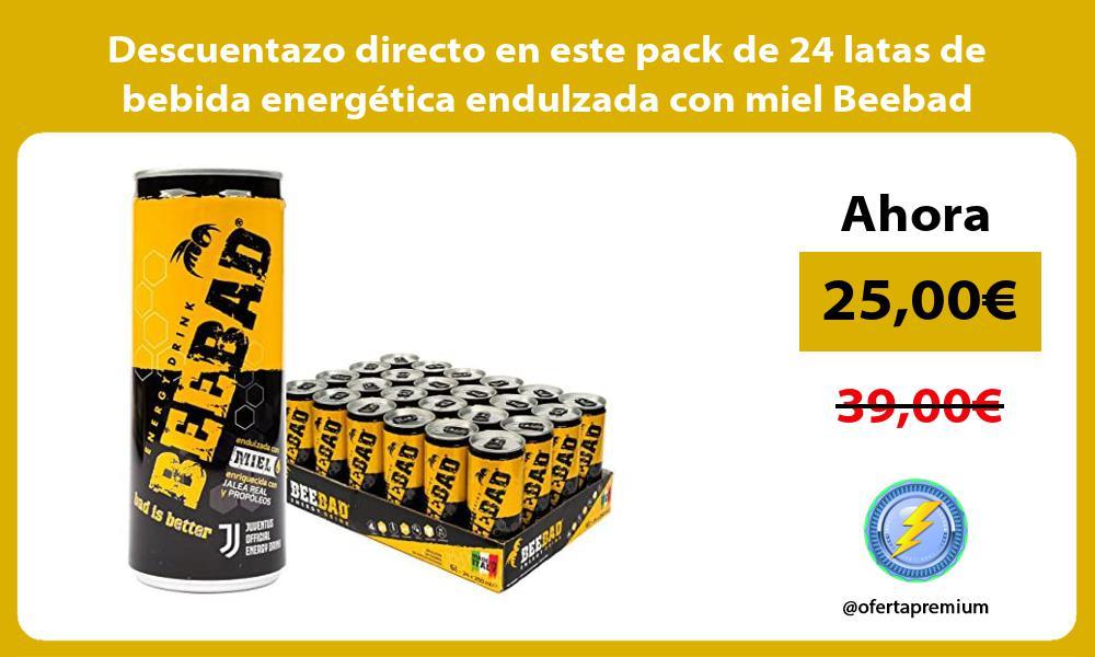 Descuentazo directo en este pack de 24 latas de bebida energética endulzada con miel Beebad