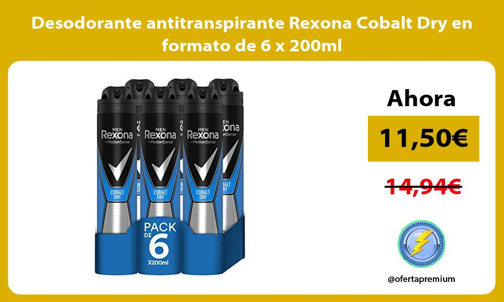 Desodorante antitranspirante Rexona Cobalt Dry en formato de 6 x 200ml