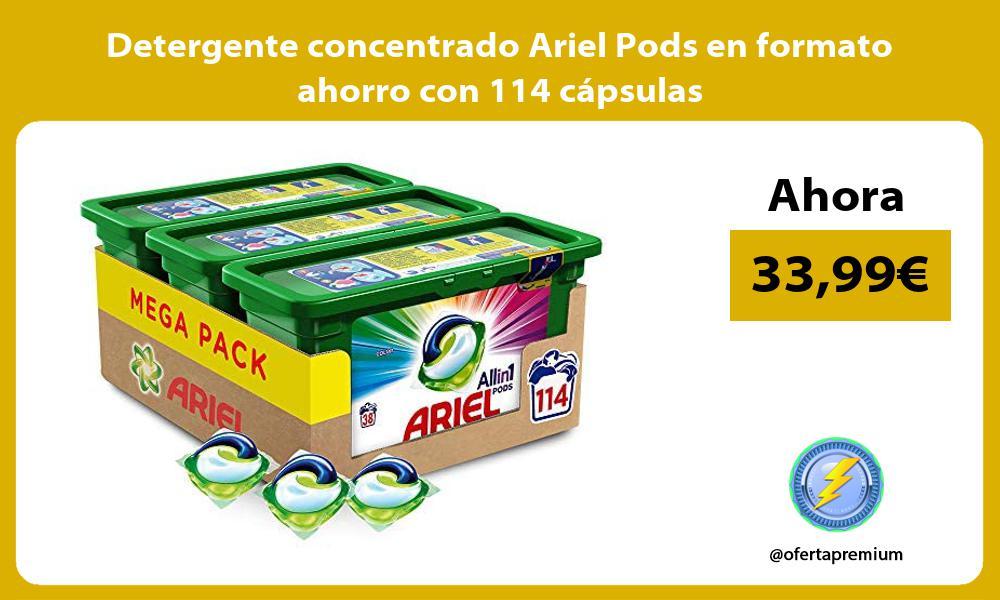 Detergente concentrado Ariel Pods en formato ahorro con 114 cápsulas