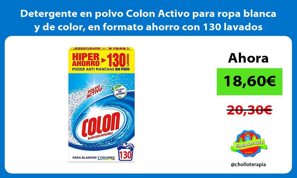 Detergente en polvo Colon Activo para ropa blanca y de color en formato ahorro con 130 lavados