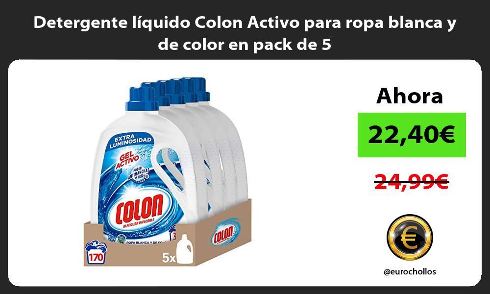 Detergente líquido Colon Activo para ropa blanca y de color en pack de 5