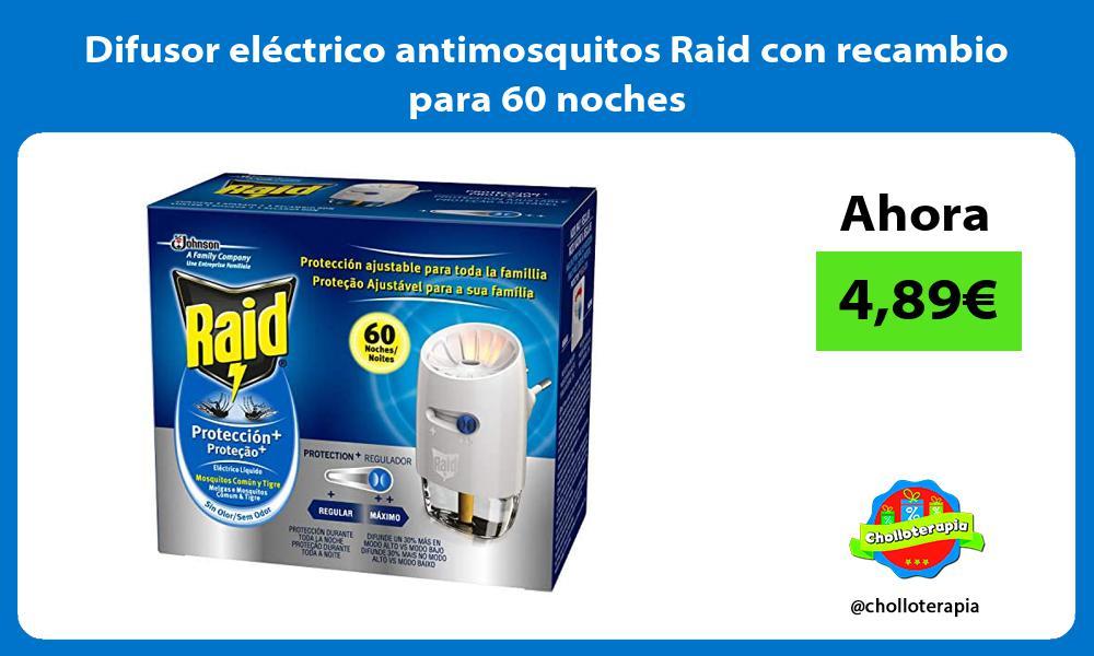 Difusor eléctrico antimosquitos Raid con recambio para 60 noches